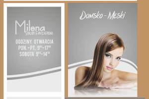 salon fryzjerski Milena witryny
